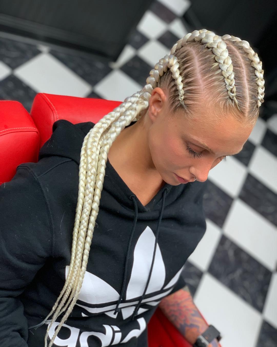 4 Long Goddess Braids in Blonde
