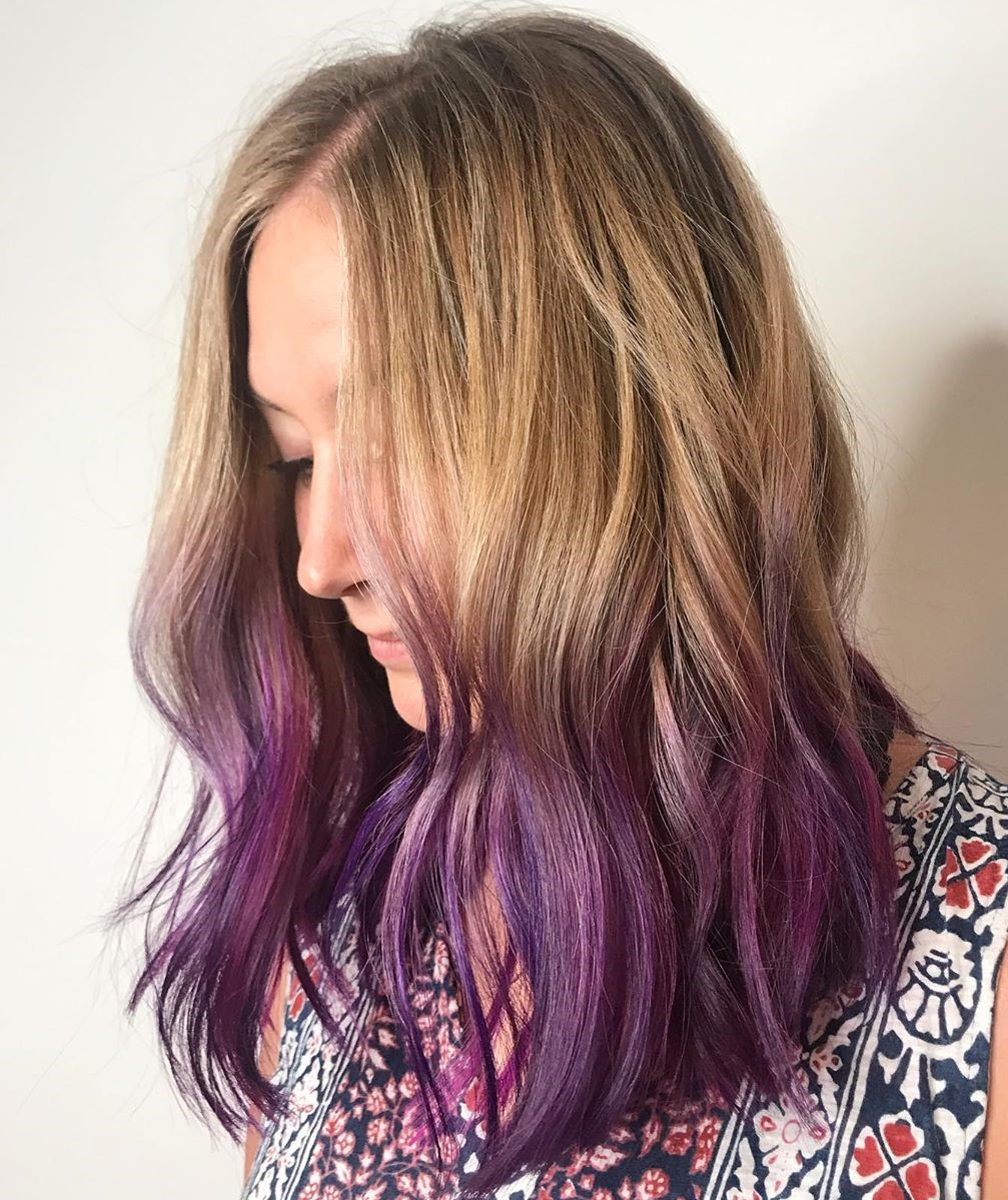 Dirty Blonde Hair with Purple Dip Dye