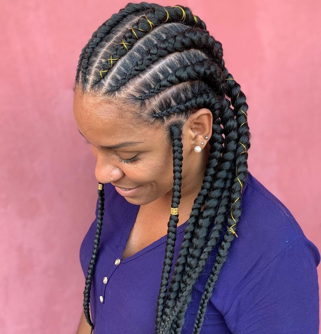 Goddess Plaits with Gold Thread and Cuffs