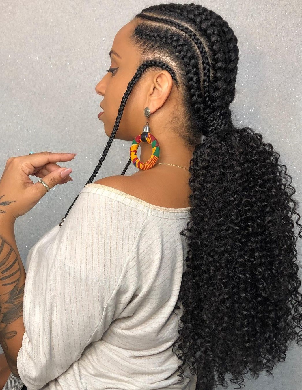 Goddess Braids Cornrows with a Weave