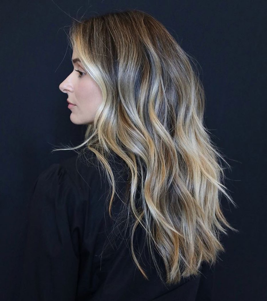 Gilded Blonde Balayage with Dark Brown Roots