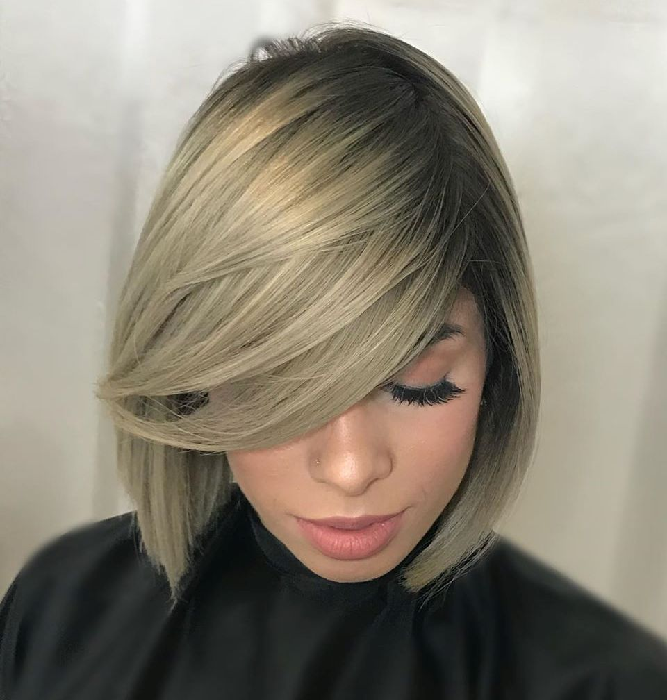 Light Ash Blonde with Root Fade