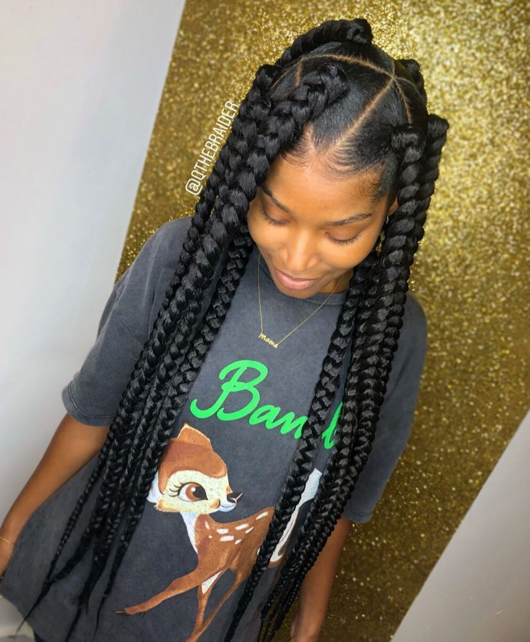 Triangle-Parted Goddess Box Braids