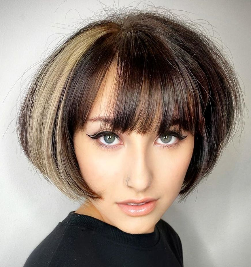 Voluminous Lip-Length Bob with a Fringe