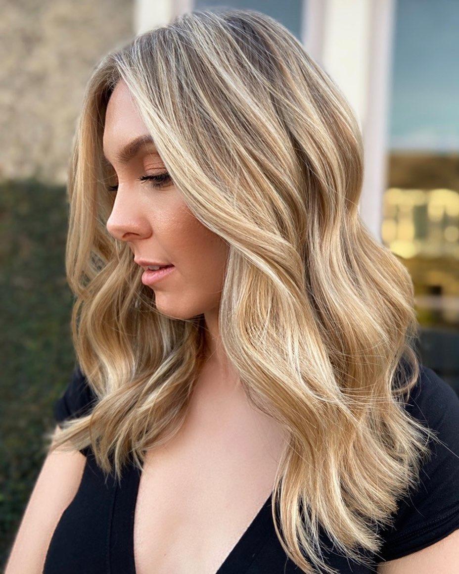Warm Honey Blonde Balayage Waves