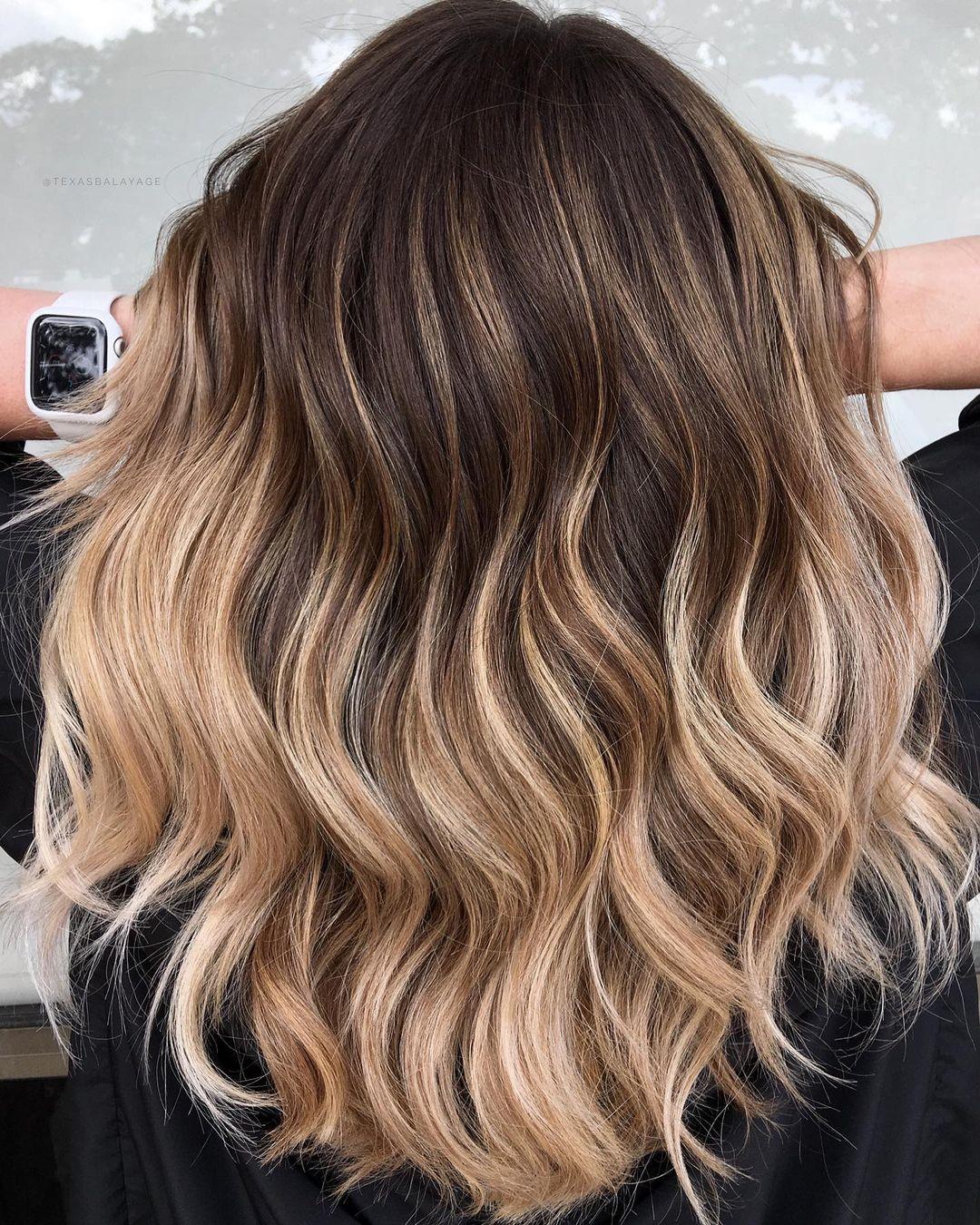 Brown Hair with Beige Blonde Streaks