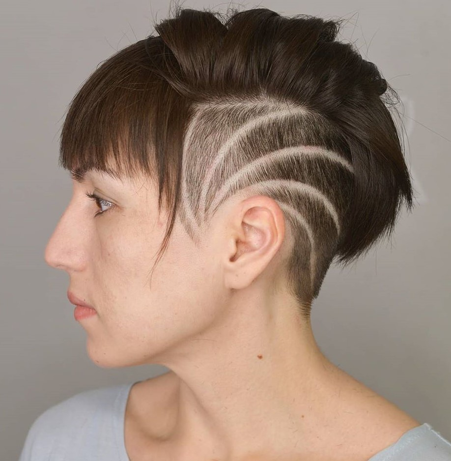 Women's Undercut with Shaved Lines