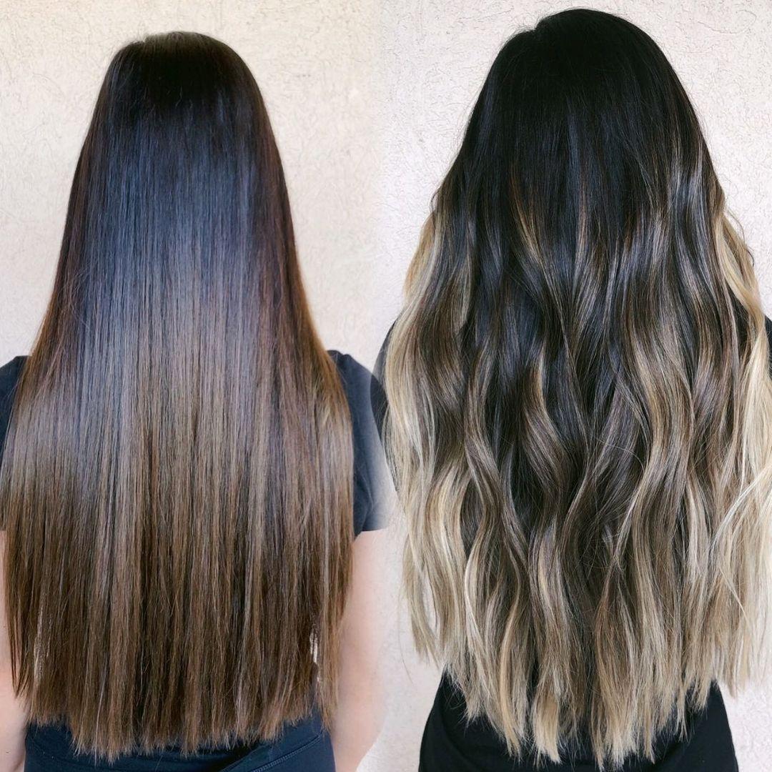 Subtle Blonde Balayage for Long Dark Hair
