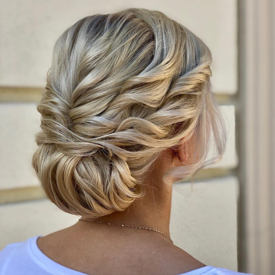 Formal Twisted Low Roll Updo