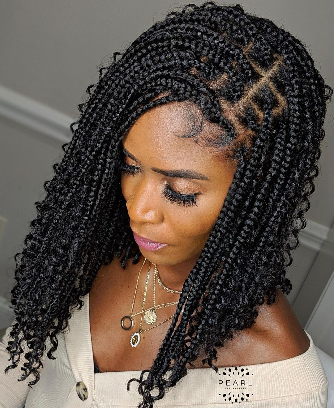 Knotless Box Braids with Curls