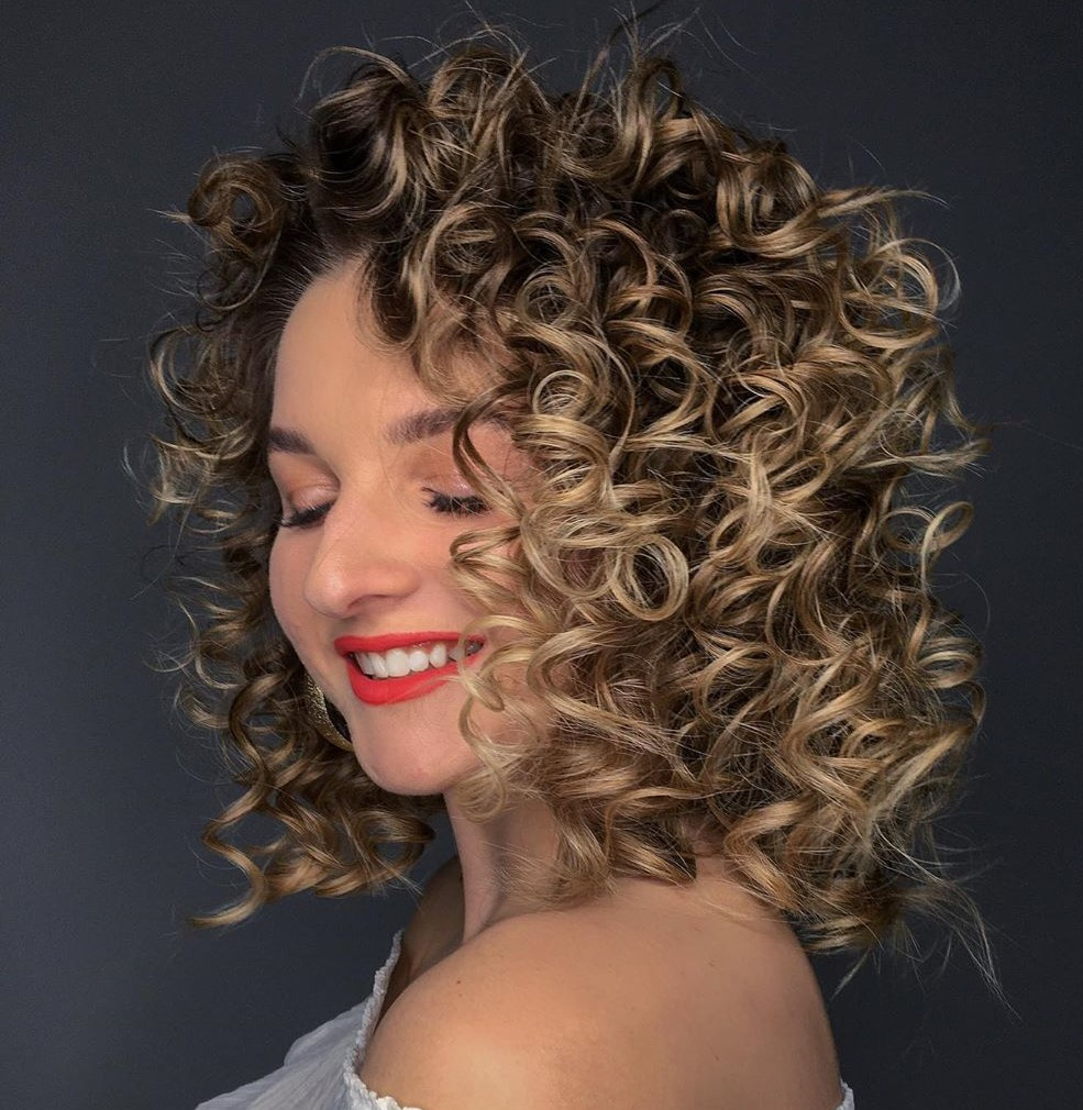 Curly Dirty Blonde Balayage Hair