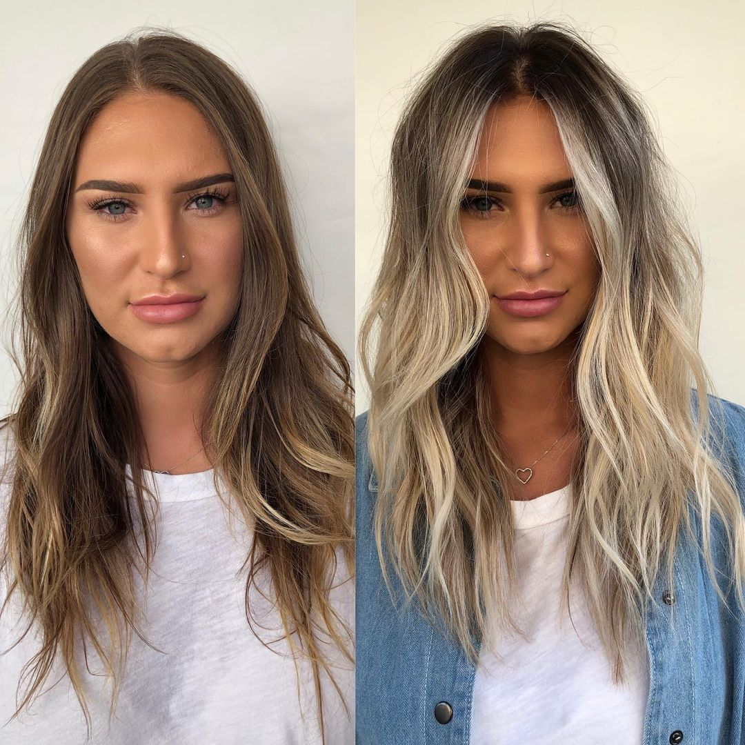 Dirty Blonde Balayage Hair for Tanned Skin
