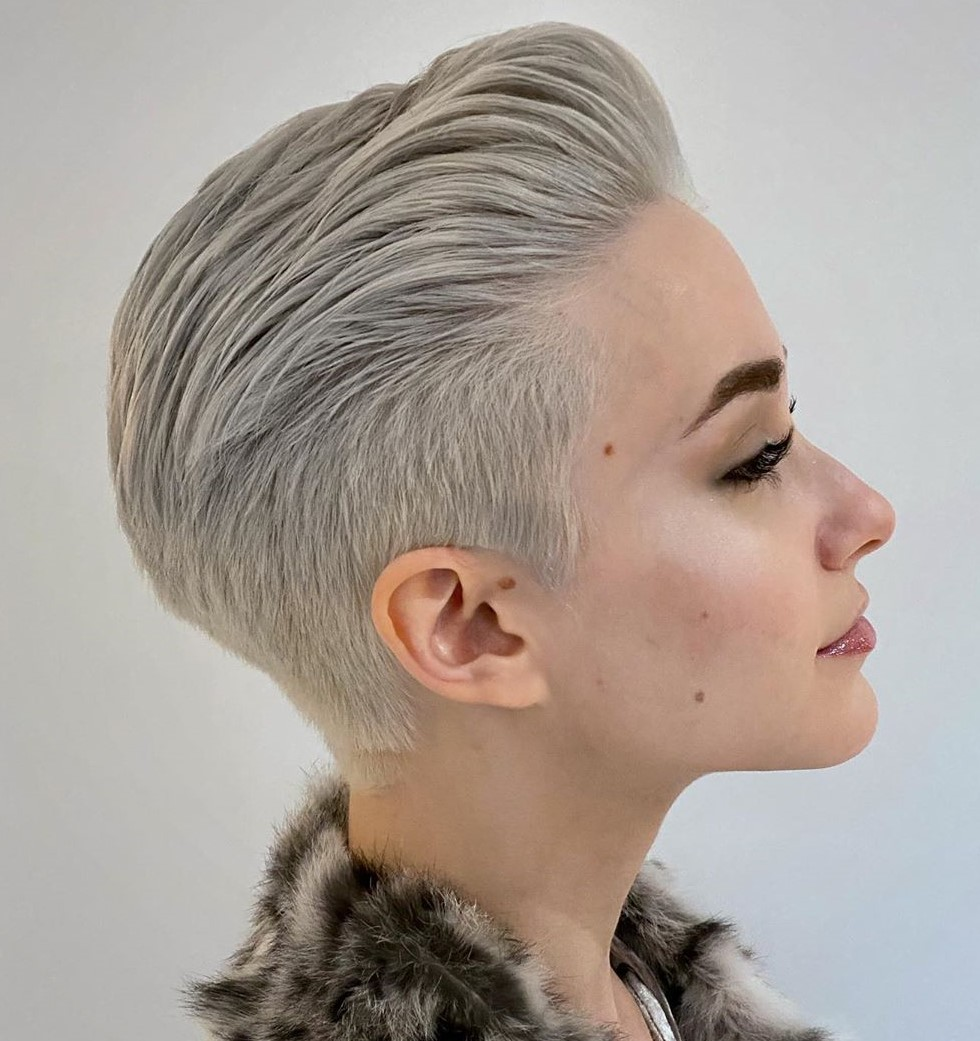 Short Female Hairstyle with Undercut Back