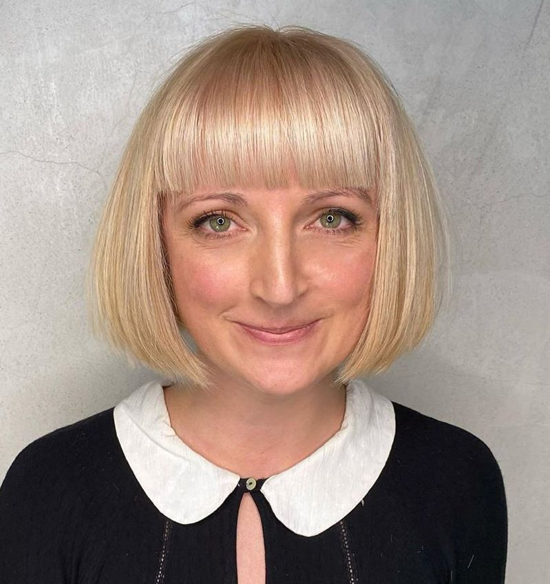 Chin-Length French Bob with Bangs