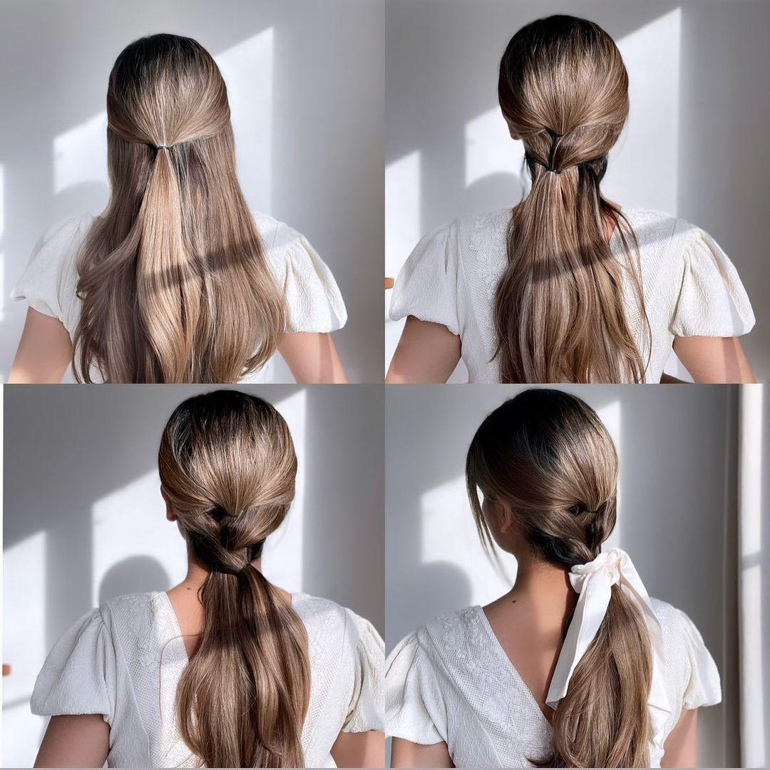 Simple Faux Braid Ponytail