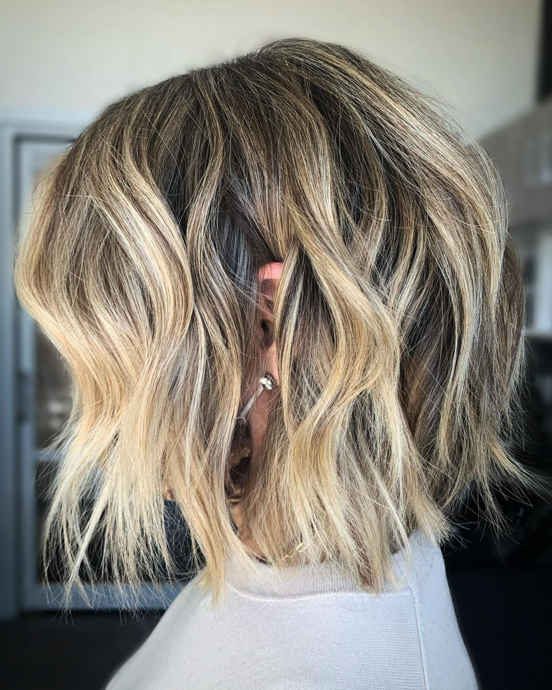 Blonde Balayage for Short Dark Hair