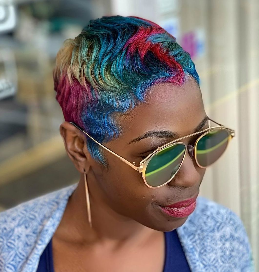 Short Hair with Rainbow Highlights for Brown Skin