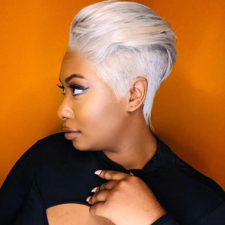 Platinum Blonde Hair for Medium Dark Skin Tone