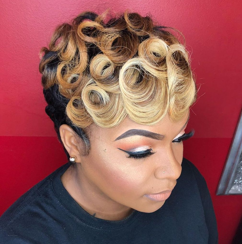 African American Brown to Blonde Ombre Short Hair