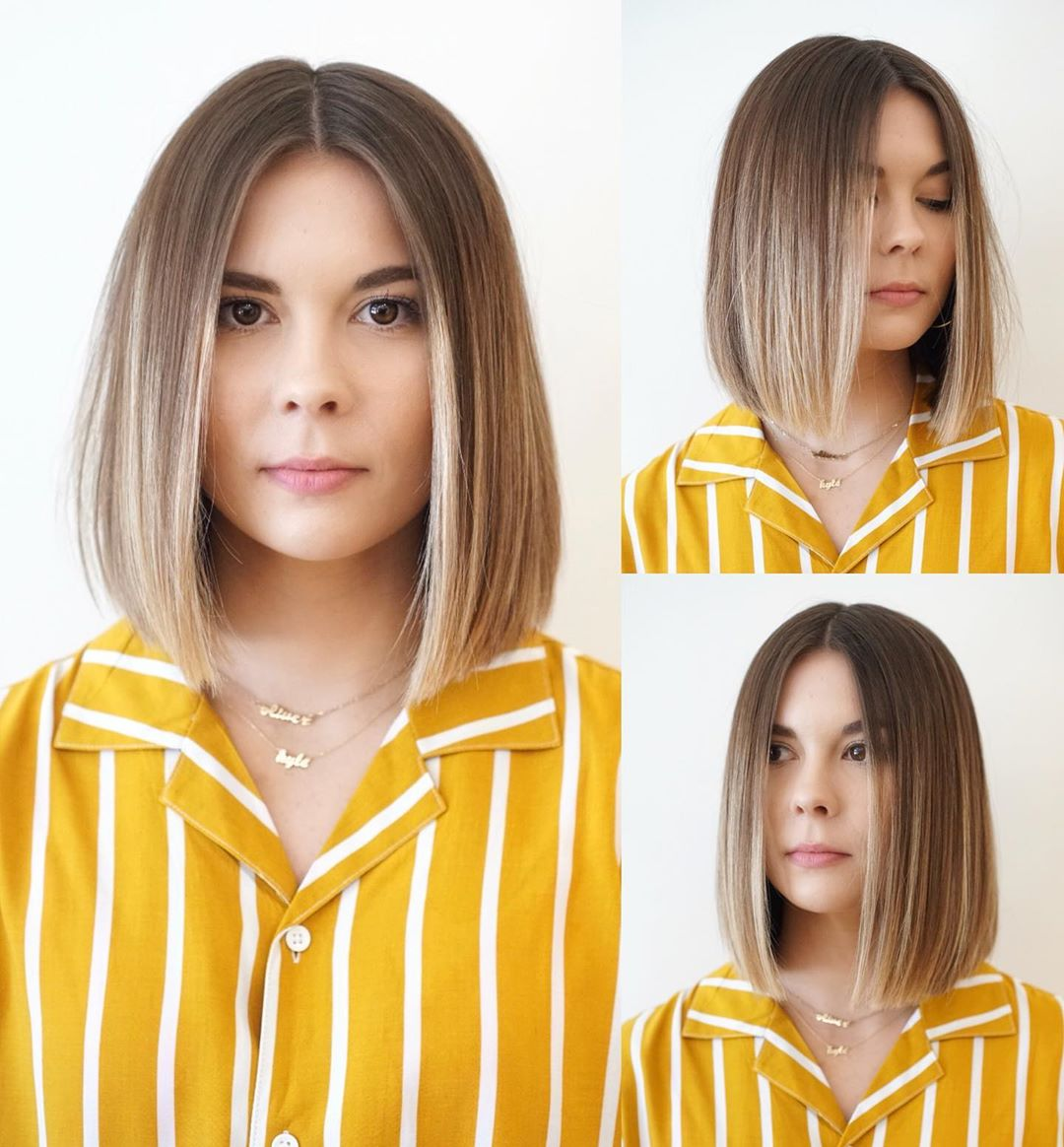 Voluminous Balayage for Short Straight Hair