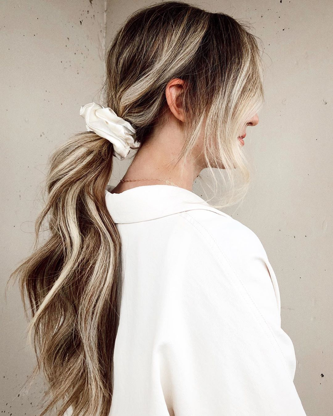 Wavy Ponytail with an Oversize Scrunchy for Fall
