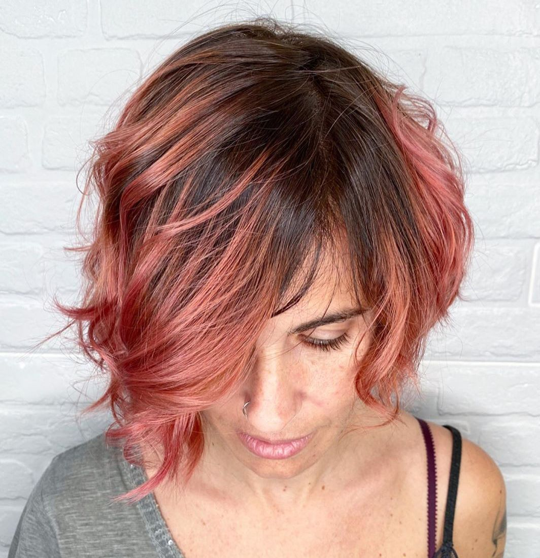 Short Rose Gold Balayage Hair