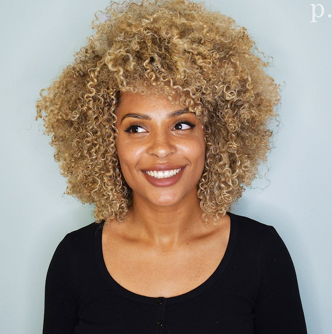 Blonde Afro with Bangs