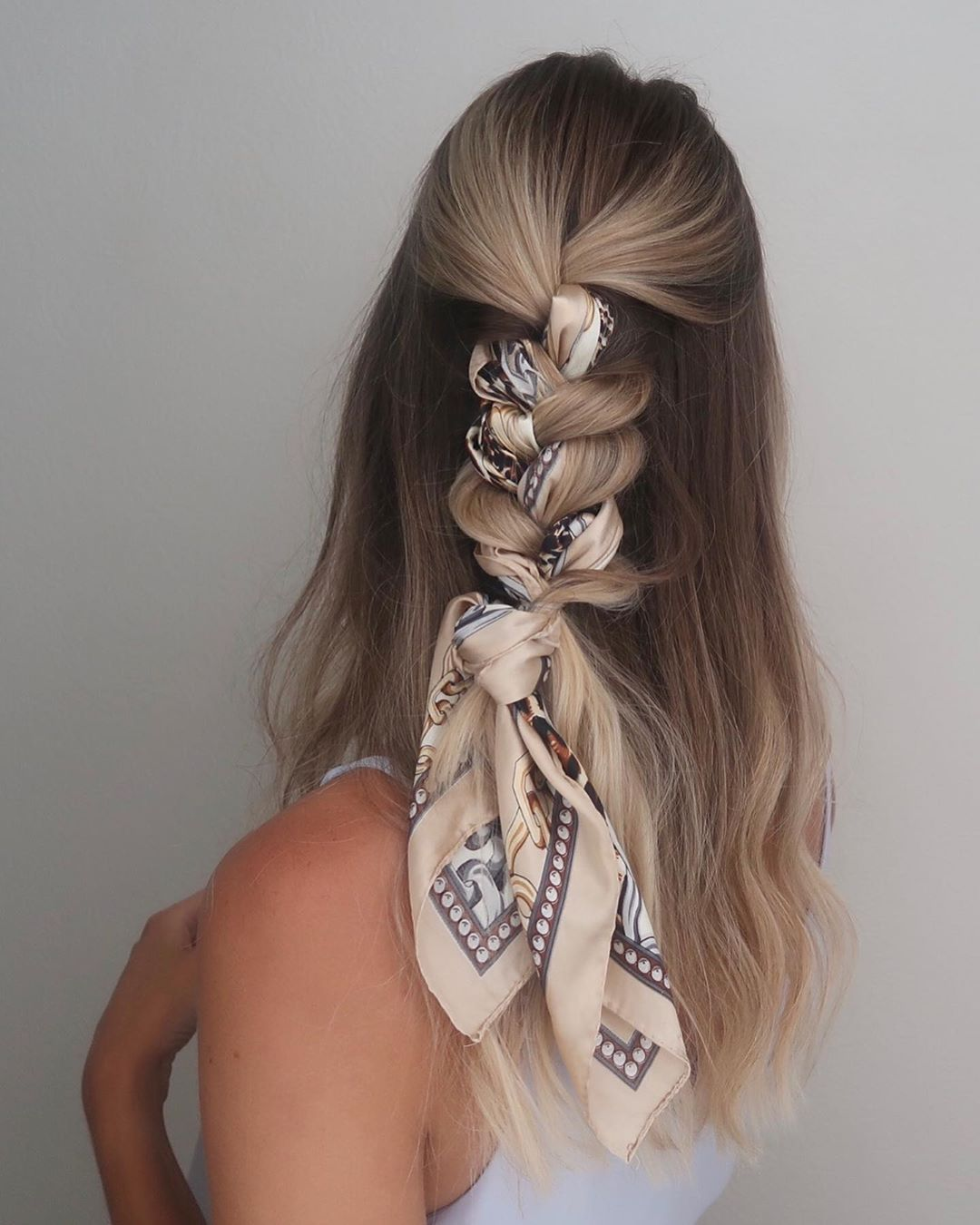 Braided Half Updo with a Silk Scarf