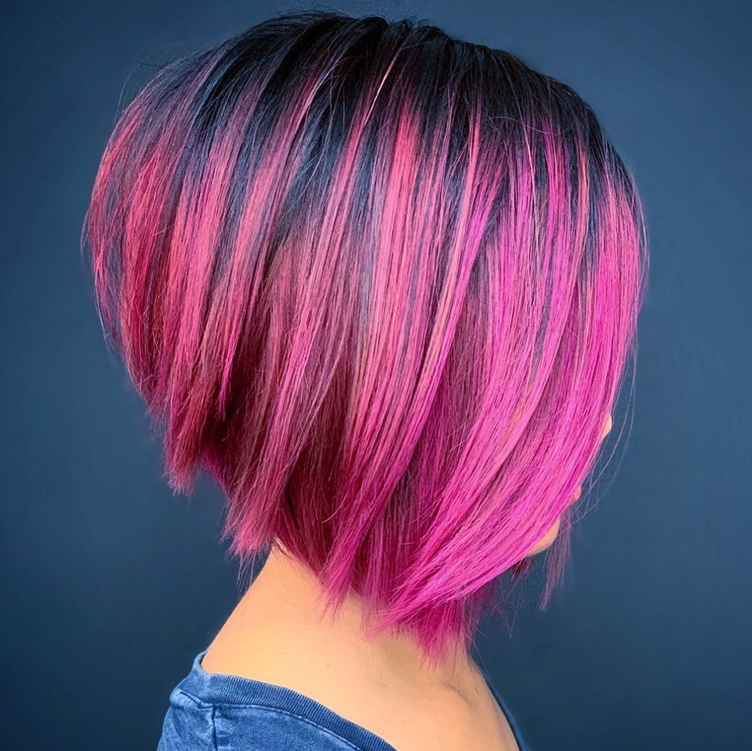 Short Pink Balayage Hair