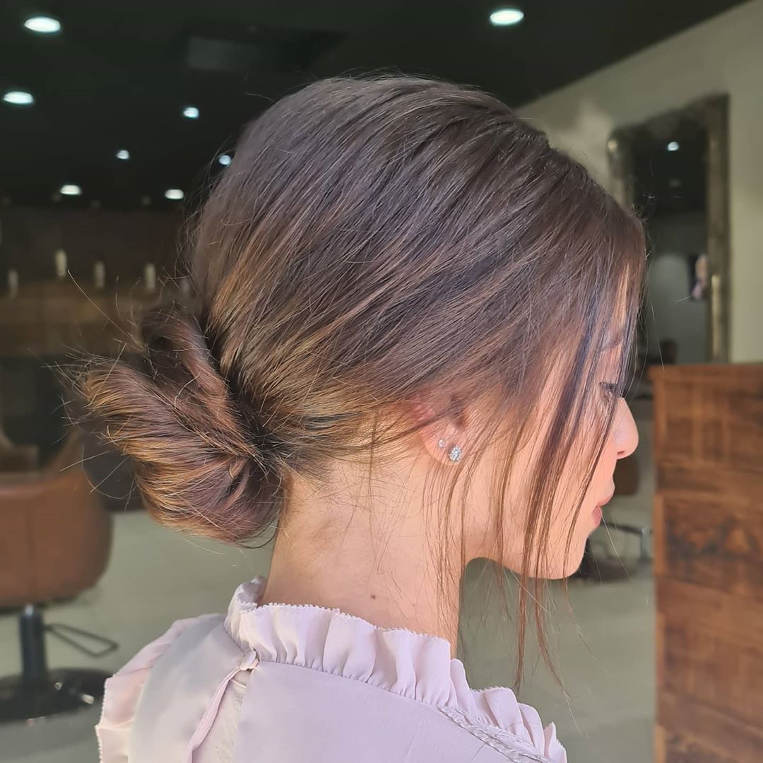 Messy Low Twisted Bun for Autumn