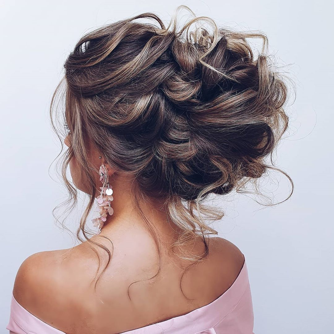 Feminine Messy Curly Updo for Fall