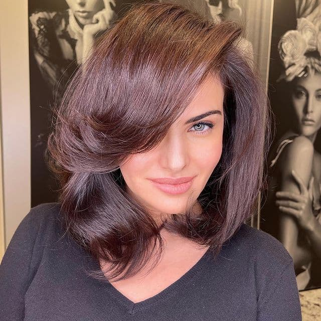 Medium Blowout with Side Bangs
