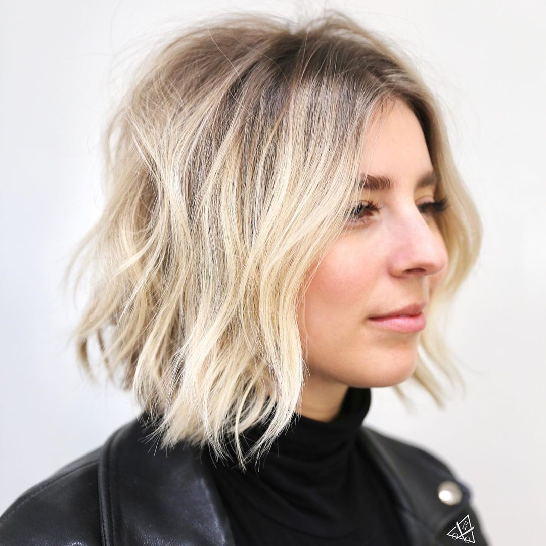 Short Textured Hair with Ash Blonde Balayage