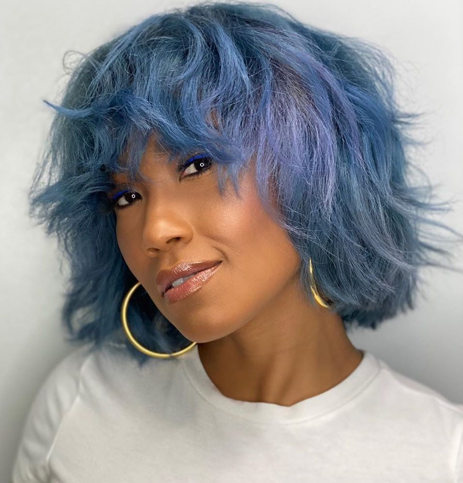 Pastel Blue Hair for Black Women