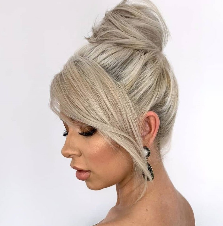 2021 Easy Updo with bangs for Medium Hair