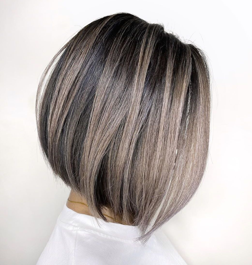 Gray Balayage Lob with Lowlights