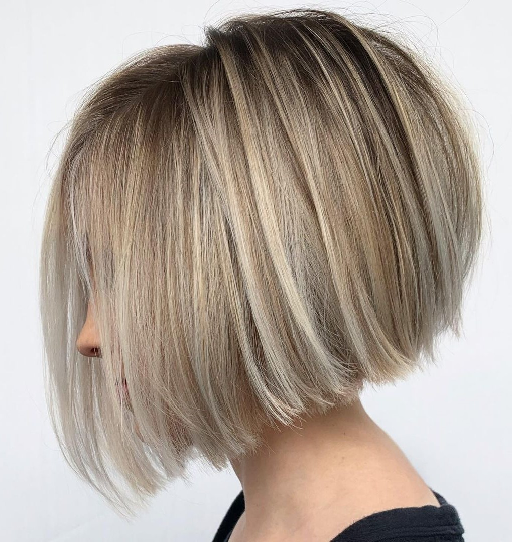 Short Blonde Stacked Bob with Highlights