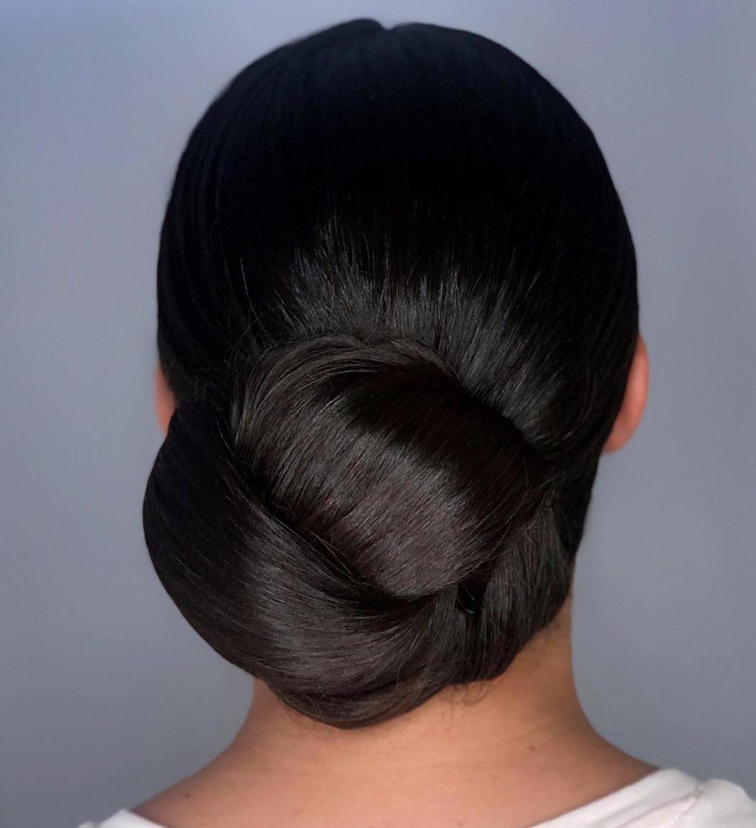 Sleek Chignon for Thick Straight Hair