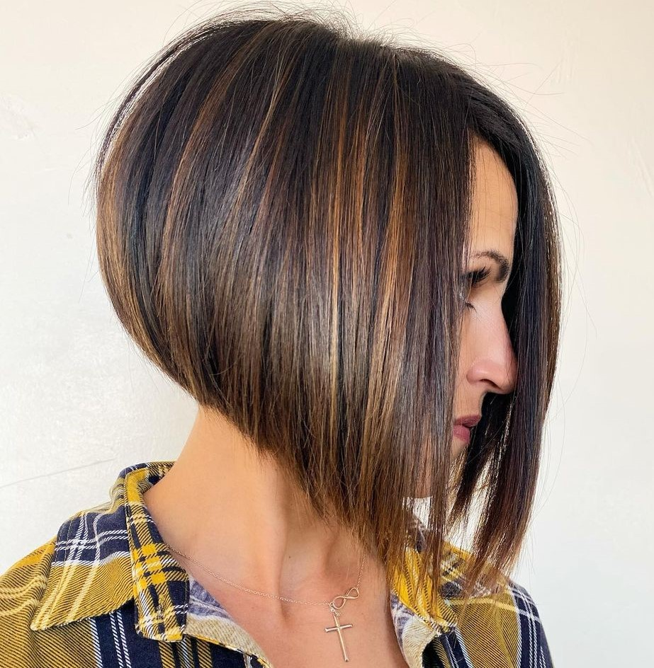 Short Stacked Angled Bob for Straight Hair