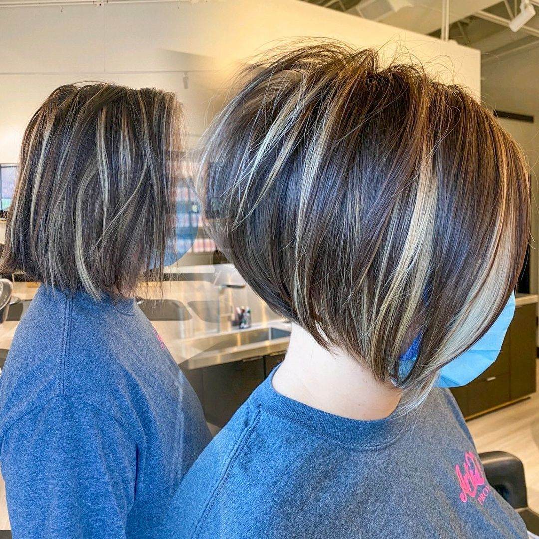 Bright Short Stacked Inverted Haircut
