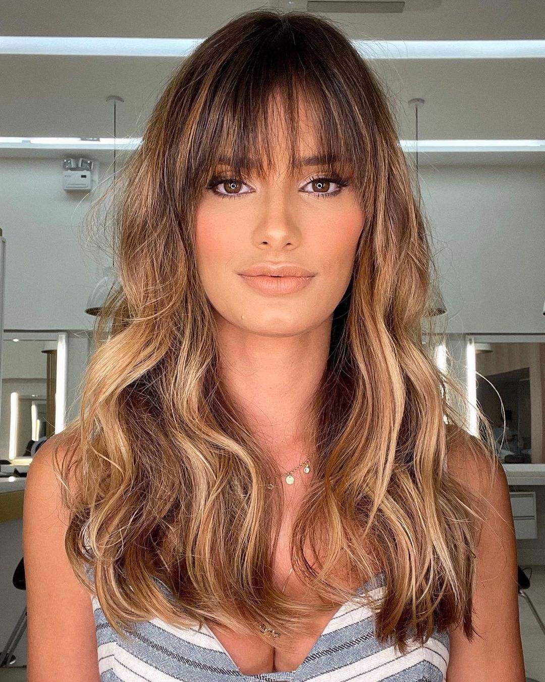 Long Hairstyle with Bangs and Highlights