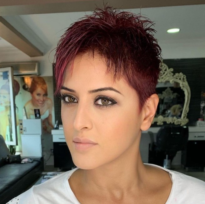 Short Burgundy Pixie with Bangs