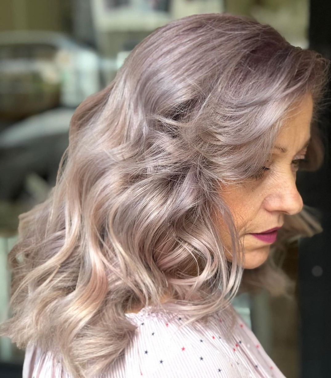 Long Thick Gray Hair Style for Older Women