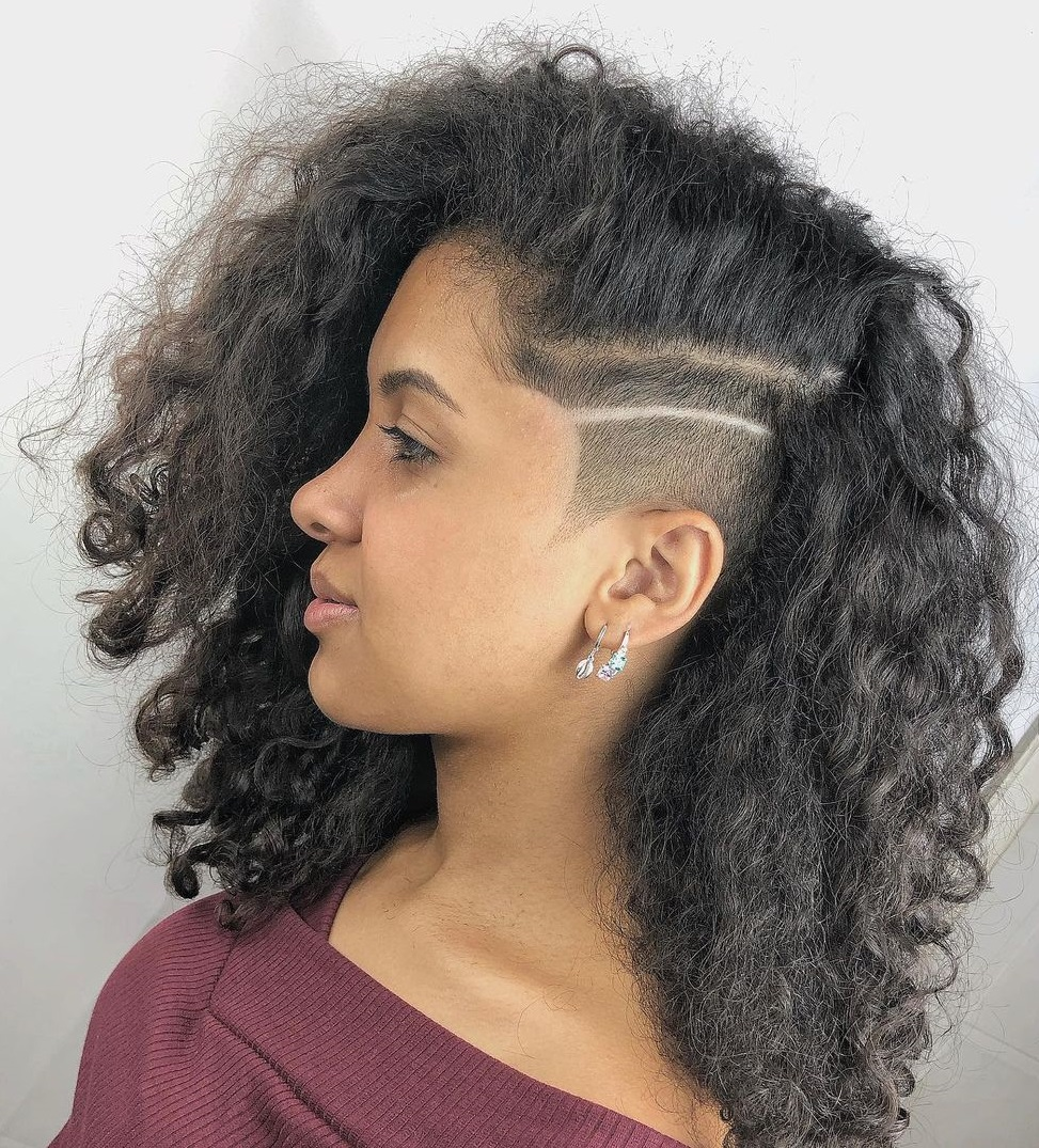 Natural Wavy Hair with a Shaved Side