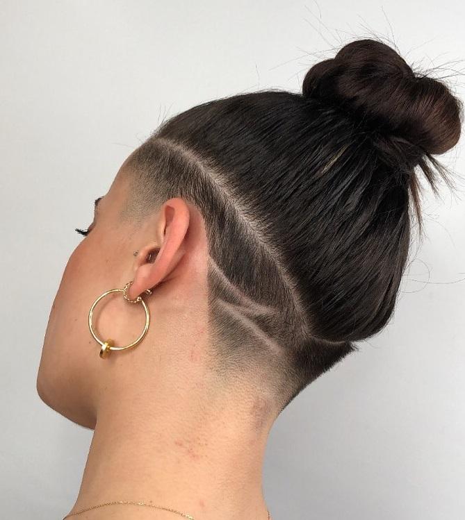 Shaved Long Hair Bun Hairstyle