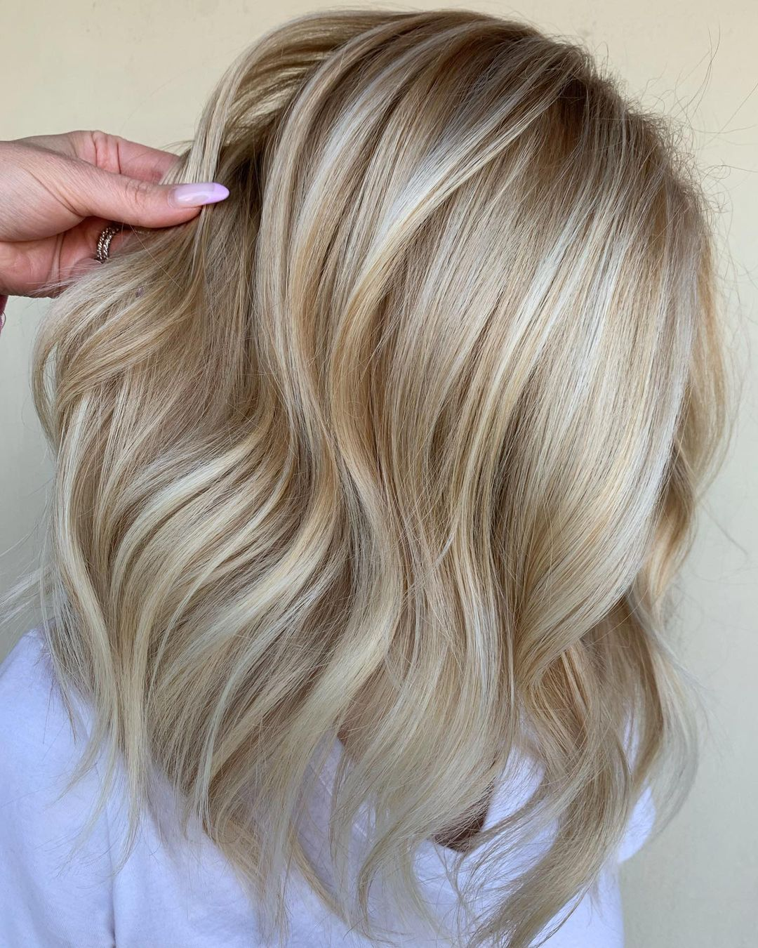 Honey Blonde Balayage with Silver Highlights