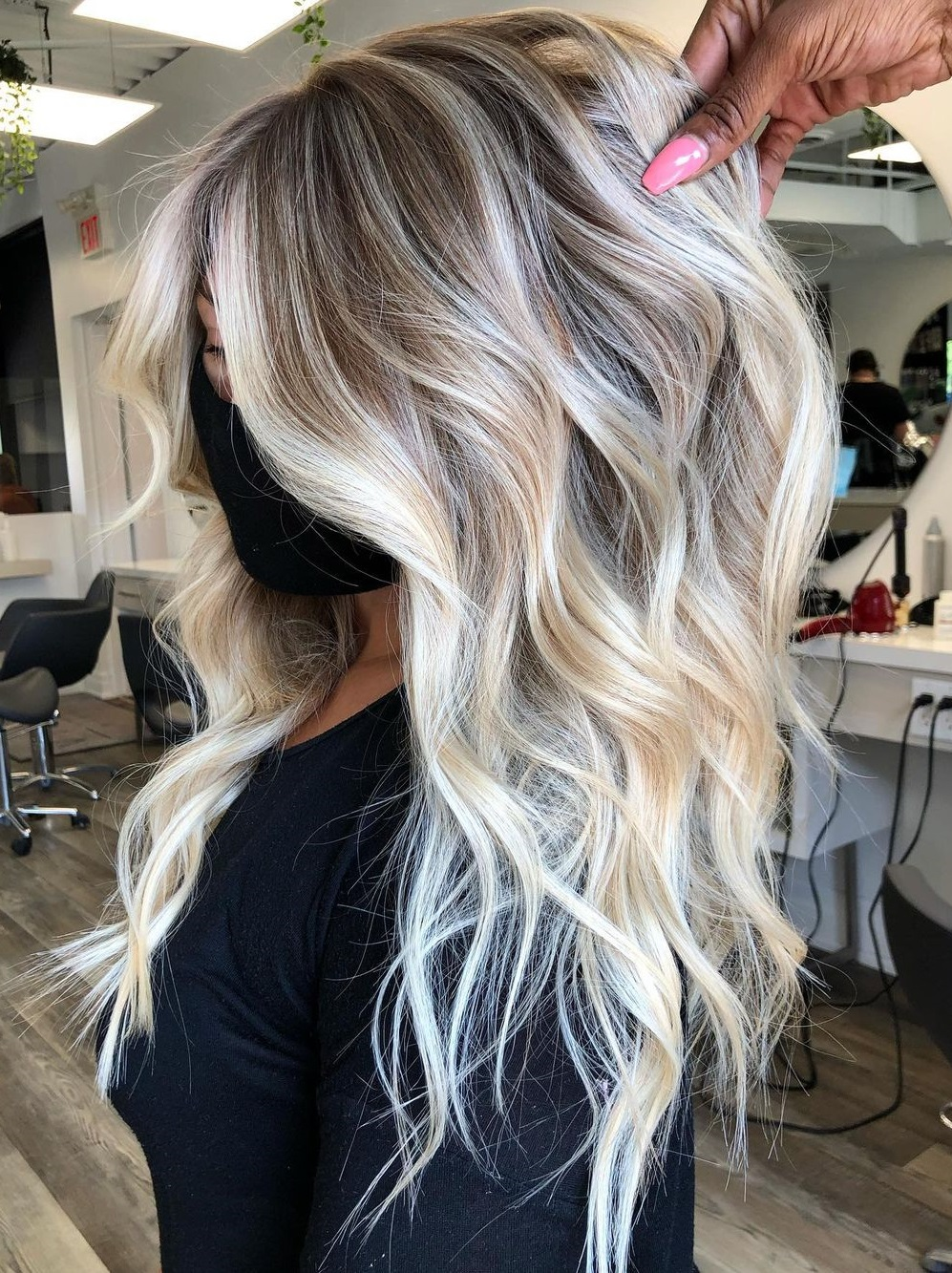 Bright Blonde Balayage with Waves