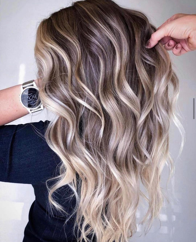 Dark Hair with Blonde Sun-Kissed Highlights