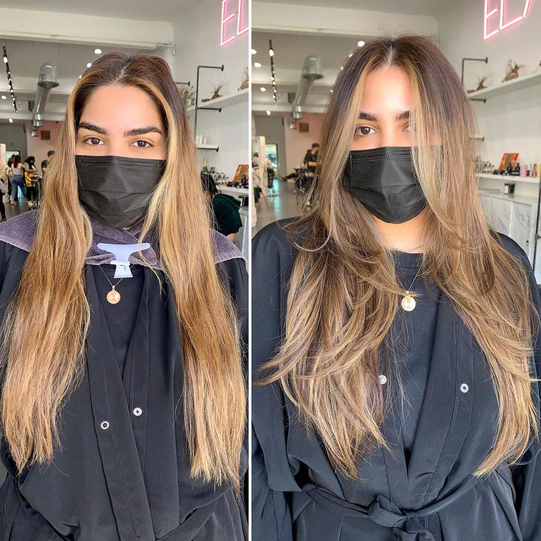 Long Layered Honey Balayage Hair