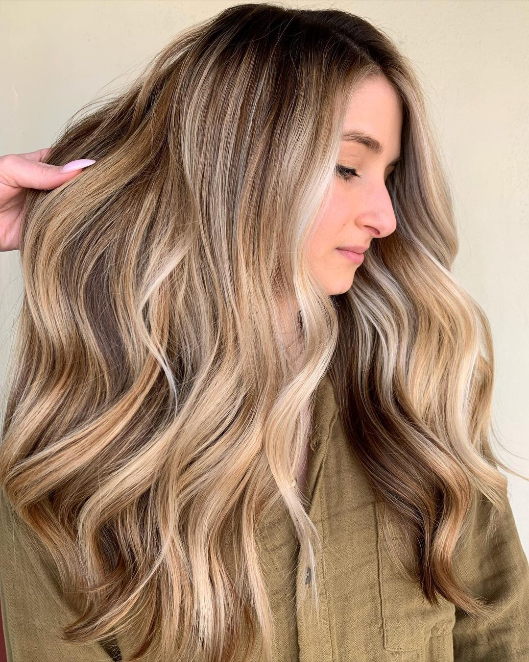 Dirty Blonde Highlights and Root Fade